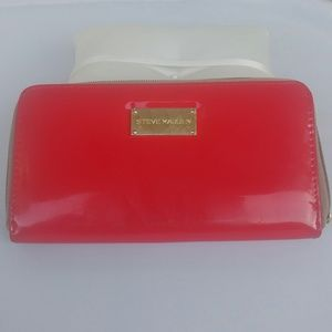 Steve Madden Red Gold Tone Wallet Glossy